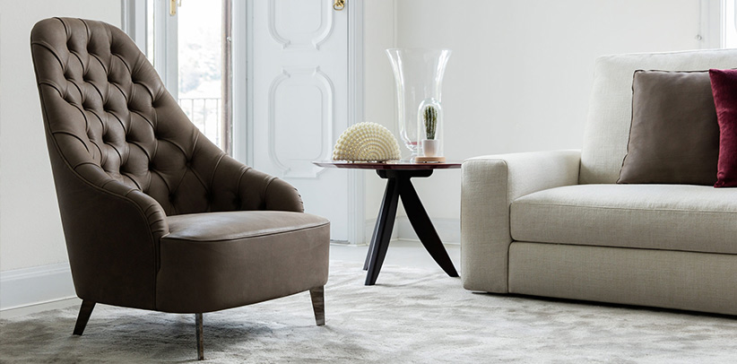 Vanessa and Emilia armchairs with high seat back capitonnè finishing