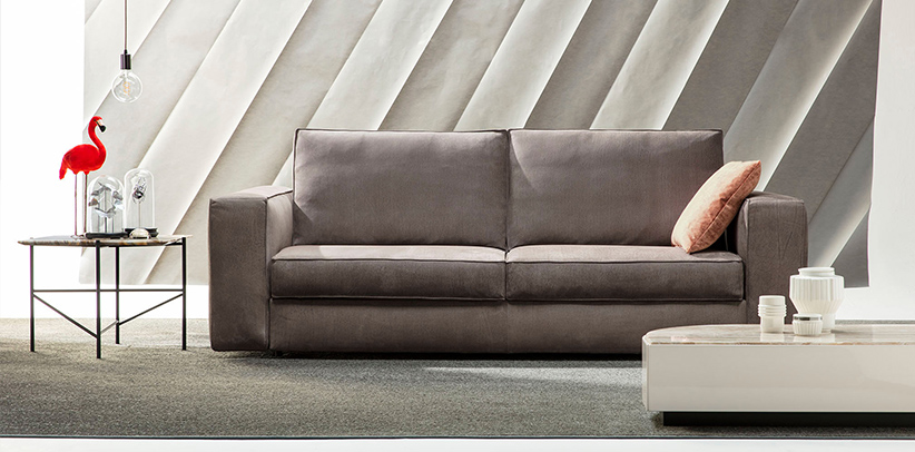 Nemo sofa bed in water repellent Blonde nabuk leather