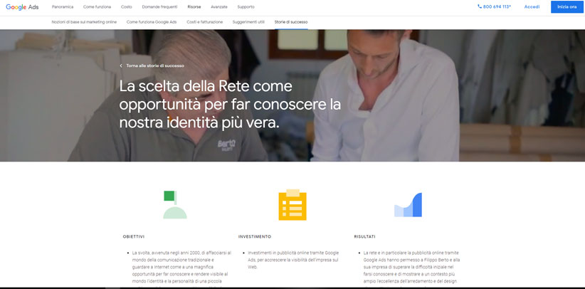 BertO Italian case study according to Google
