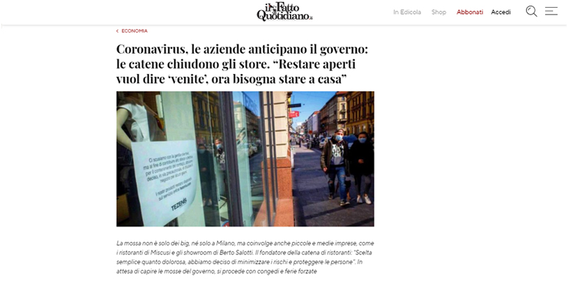 "Filippo Berto anticipates the decisions of the Italian Government. Read his interview in the daily newspaper  ""Il Fatto Quotidiano""-"