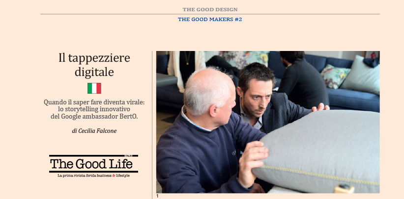 Filippo Berto digital upholsterer in the magazine The Good Life Italia