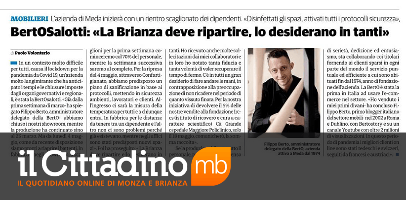 interview with Filippo Berto, CEO of BertO, in the weekly newspaper Il Cittadino of Monza and Brianza