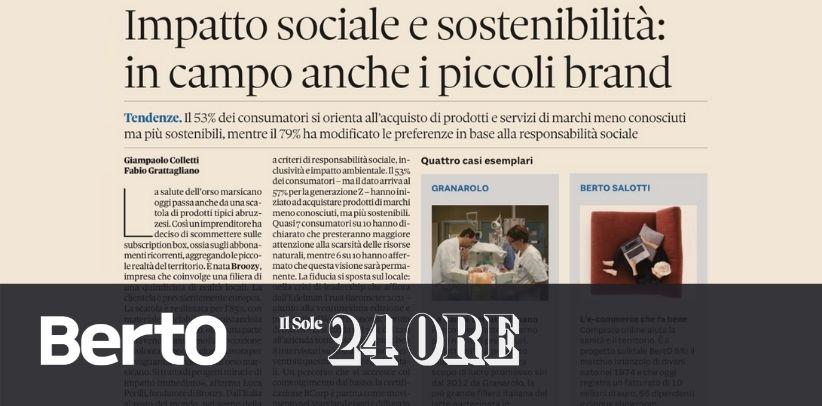 BertO in Il Sole 24 Ore: exemplary case of social responsibility
