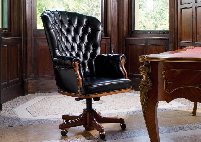 President executive armchair berto salotti for Fauteuil de bureau chesterfield