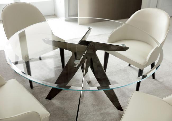 Tavolo Tondo In Vetro.Ring Round Table With Glass Top Berto Salotti