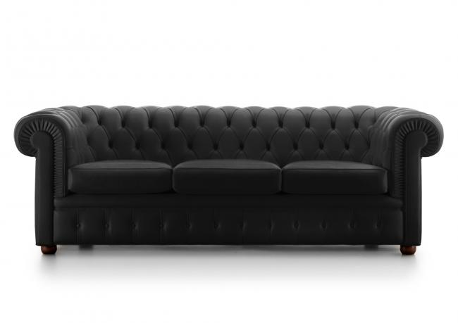 Outlet Divani In Pelle.Outlet Chester Sofa In Black Leather Berto Shop