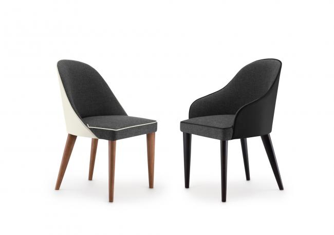 Sedia In Pelle Moderna.Modern Chair In Leather And Fabric Berto Shop