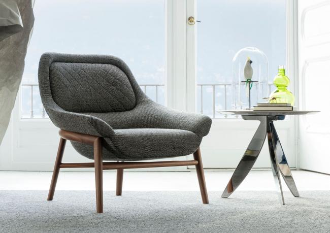 Hanna Armchair with Solid Wooden Frame - Berto Salotti