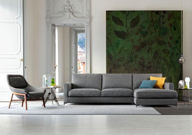 Jimmy custom made sofa with peninsula and visible metal feet ...