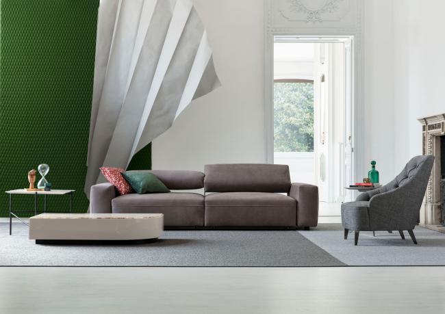 Harley leather sofa with sliding seats – Berto Salotti